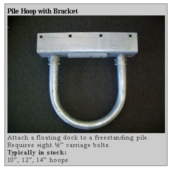 pile hoop with bracket Dockside Marine Supply Company    Floating Docks  PWC Floats   Dock Hardware   Floating Dock Components