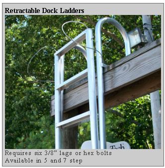 retractable dock ladders Dockside Marine Supply Company    Dock Hardware   Pile Caps  Cleats  Ladders  and More