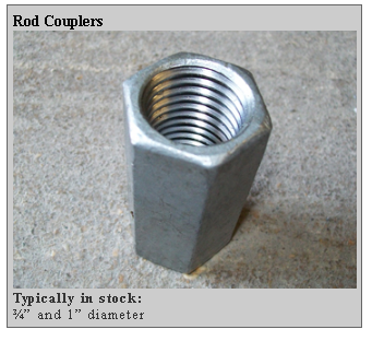 rod couplers Dockside Marine Supply Company    Marine Pilings   Timbers   Marine Hardware